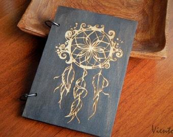 Lovely Dreamcatcher laser cut wooden sketchbook hand painted