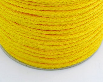 5, 10, 100 meters polyester cord 4 mm yellow