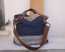 Denim fabric part recycled bag/ shoulder bag/ tote bag/ handbag/ OOAK tote/ Levi denim