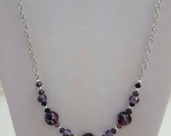 Purple black and gray disk bead  necklace