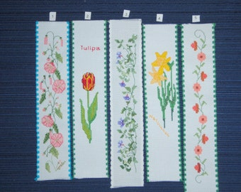 Handmade Flower Bookmarks - Counted Cross Stitch