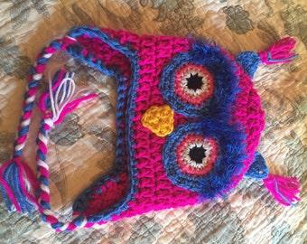 Shocking pink owl beanie