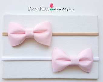 Mini Baby Hair Bow headband. Baby Pink bow headband.