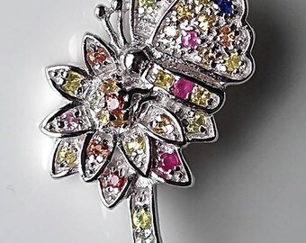 Magnificent Butterfly Flower Sapphire Sterling Silver Brooch for adorning A Handbag or Costume Creation