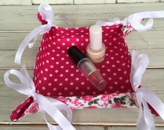 Fabric Tray,Reversible Fabric Tray,Travel Tray,Coin Tray,Key Tray,Organizer,Bedside Tray,Floral Fabric,Handmade