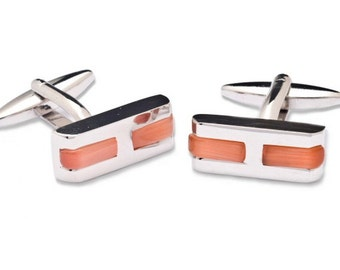 "Cufflink with Rectangular ""H"" shape"