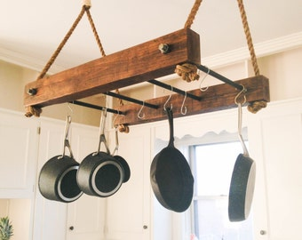 Rustic Wood Pot Rack