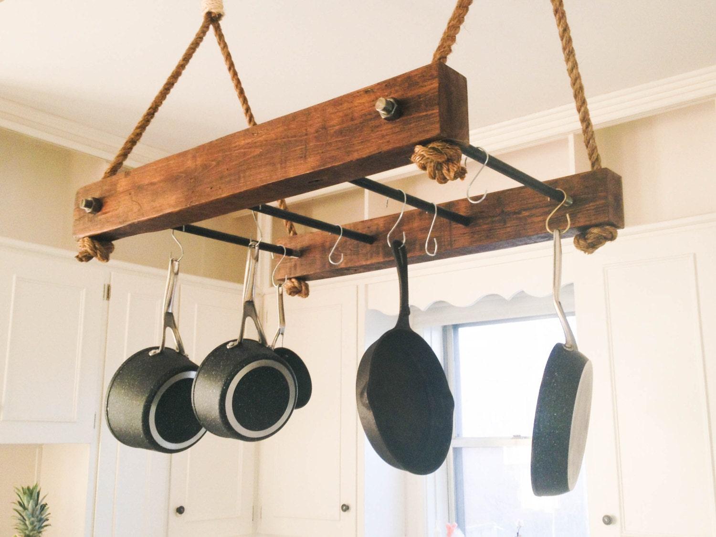 Rustic Wood Pot Rack