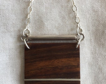 LIGNUM VITAE wood pendant with inlaid sterling silver