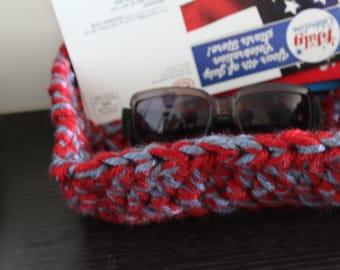 Handmade crochet storage box
