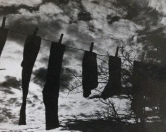 Socks and Sky Abstract B&W Photography Print
