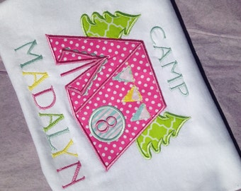Girls Glamping Embroidered Custom T-shirt