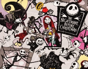 """Tim Burton's the Nightmare Before Christmas Oxford Fabric made in Japan, FQ 45cm by 53cm or 18"""" by 21"""""""