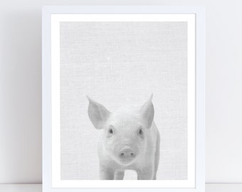 Pig Print, Baby Animal Posters, Black and White Animal Prints, Farm Animal Nursery, Animal Nursery Wall Decor, Instant Download, Piglet Art.