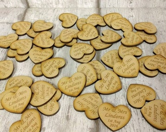 Wedding Favours, Wooden Heart Shaped Wedding Favours