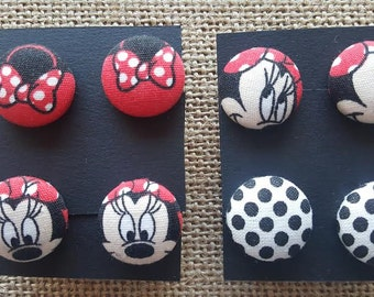 Minnie Mouse  - Handmade Fabric Button Earrings
