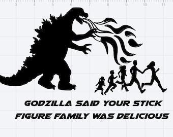 Godzilla And Stick Figure Family SVG Cut File