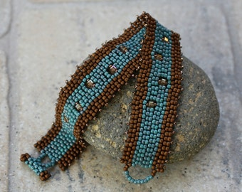 Carolina Blue and Brown Beaded Bracelet