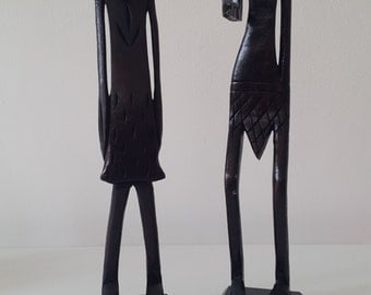 Wooden Carved African Tribal Art Statue - Bespoke Gift