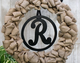Large Burlap Circle Letter Monogrammed Wreath