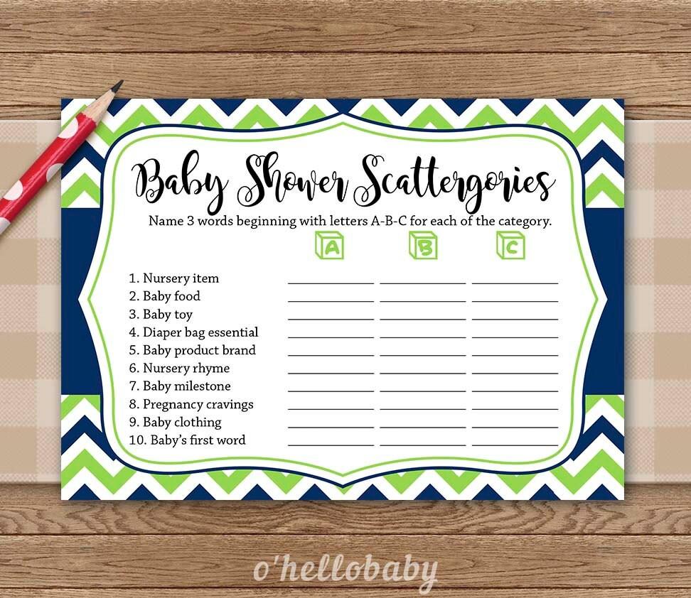 scattergories baby shower game navy blue green chevron