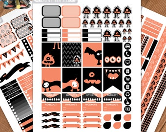 Monsters Printable Planner Stickers, Black Stickers, Weekly Kit, Erin Condren Life Planner, Printable Sampler, Monthly Kit, Instant download