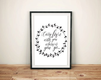 Quote Print, Inspirational Quotes, Motivational Quote, Instant Download, Positive Art Printable Quotes Calligraphy Print, Black and white
