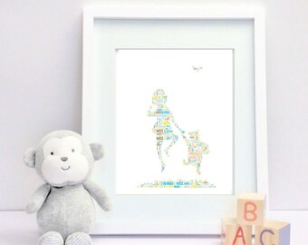 Winnie the Pooh and Christopher Robin - Framed Personalised Print