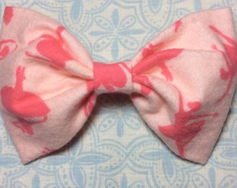 Pink Ballerina Fabric Clip, Fabric Hair Bow, Pink Bow, Fabric Bow, Pink Ballerina Hair Barrette, Girls Pink Fabric Bow