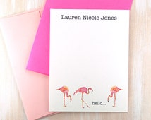 Kids Personalized Stationary Set, Pink Flamingo Gifts, Funny Birthday Gifts, Watercolor Flamingo Stationary, Tropical Note Cards Set of 12