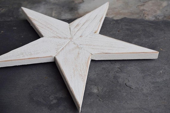 Farmhouse Rustic White Wooden Star Distressed Wall Decor Small