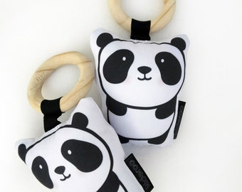 Panda Baby Soft Rattle Toy - Baby - Monochrome Baby Toy - Teething Toy - Wooden Ring Teether - Baby Shower Gift - Christmas Stocking Filler