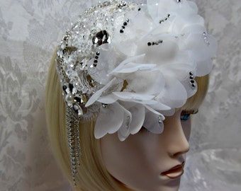 victorian headpiece, victorian bridal headpiece, white wedding fascinator, crystal bridal headpiece white victorian bridal crystal headpiece
