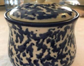 Vintage Royal Majestic Stoneware Countrytime Blue 8750 Sugar Bowl with Lid Blue Splatterware Farmhouse Chic Dining Decor