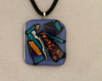 Fused Dichoric Glass Pendant with metal bail