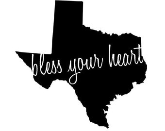 "Texas ""Bless Your Heart"" Vinyl Decal"