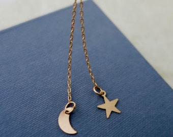 Star Moon Necklace, 14k Gold Filled Delicate Y Necklace / Minimal Everyday Jewelry Charm/ Dainty Lariat / Bridesmaids Gift,  just1gold