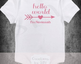 Hello World bodysuit - Coming home outfit - Babies first outfit - Perfect Baby shower gift - Newborn coming home outfit -