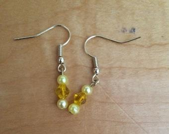 Yellow Pearl and Diamond Earrings