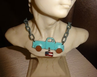 Vintage Truck Necklace/Vintage Truck Pendant/Boys Necklace/Cowboy Necklace/