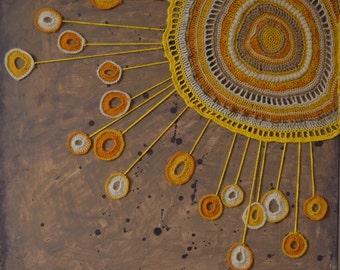 Sun - An Original Painting + Crochet on Canvas
