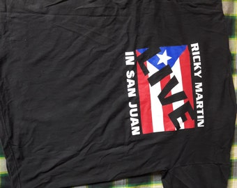 t-shirt winterland cotton made in usa size L ricky martin live in san juan concert black colour 90s good condition vintage