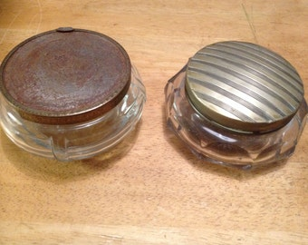 2 Large Vintage Glass Jars