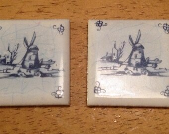 2 Miniature Blue and White Tiles