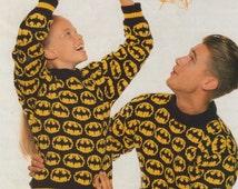 PDF Mens Ladies & Children's Batman Bat Motif Sweater Knitting Pattern : 24 - 46 inch chest . DK Pattern . Instant Digital Download