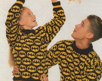 Womens, Mens, Boys and Girls Batman Motif Sweater PDF Knitting Pattern : 24, 32, 40 and 46 inch chest . Bat Motif Jumper . Digital Download