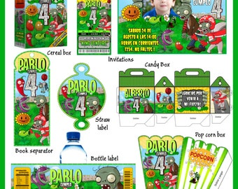 Plants vs Zombies Party Package, Printable Party Kit, Invitations, Banner, Favour Box, Labels, Wrappers, Candy Box, Instant Download !
