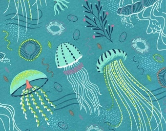 Michael Miller - Into the Deep - Tropical - Jellyfish - Teal - 100% Cotton Fabric by the Yard - You Choose Your Cut