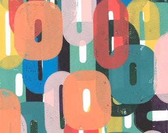 Colorful, modern, abstract art print, hand block printed, kids decor