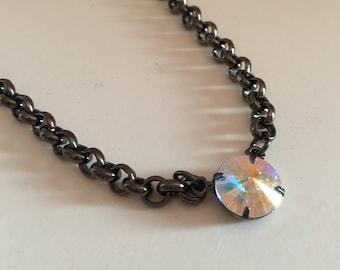 Sale*** AB Crystal and Fuchsia Single Stone Swarovski Necklace